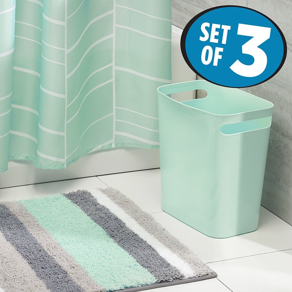mDesign Fabric Shower Curtain, Striped Microfiber Bathroom Accent Rug, Wastebasket Trash Can - Set of 3, Mint/Gray/White