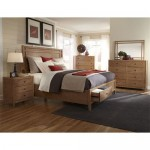 American Woodcrafters 1000-50PBS Natural Elements Queen Panel Storage Bed in Soft Driftwood with Off-white Glaze