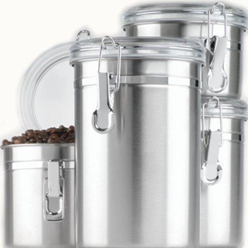 Anchor Hocking Round Stainless Steel Airtight Canister Set with Clear Acrylic Lid and Locking Clamp, 4-Piece Set