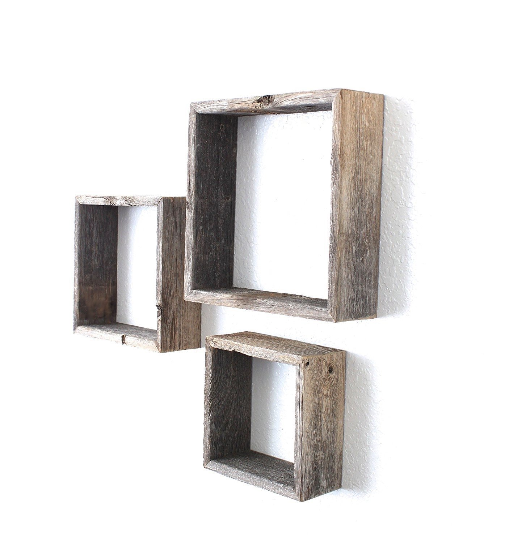 BarnwoodUSA Rustic Open Box Shelves - 100 Percent Reclaimed Wood, Weathered Gray