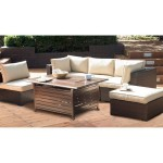 Belham Living Marcella All-Weather Wicker 6 Piece Sectional Fire Pit Chat Set