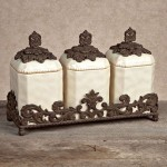 GG Collection 3 Piece Ceramic Canister Set with Metal Base - Cream