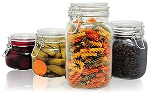 PriorityChef 4-Piece Glass Storage Jars, Perfect for Storing Coffee, Sugar, Flour, or Sweets, Keeps Bugs Out